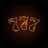 Neonlogoen av springor, spelar tre sevens, kasinotecken Royaltyfri Foto