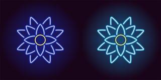 Neonlotusblomma med panelljuset i blått och ljus - blå färg vektor illustrationer