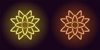 Neonlotusblomma med panelljuset i guling och orange färg royaltyfri illustrationer