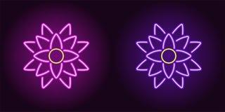 Neonlotusblomma med panelljuset i purpurfärgad och violett färg royaltyfri illustrationer