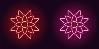 Neonlotusblomma med panelljuset i rött och rosa färger färgar royaltyfri illustrationer