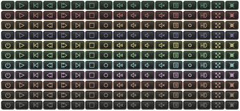 Neonmultimedia-spieler-Knöpfe mehrfarbig lizenzfreie stockfotografie