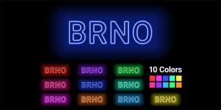 Neonnaam van Brno stad stock illustratie
