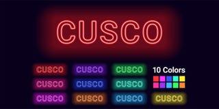 Neonnaam van Cusco-stad vector illustratie
