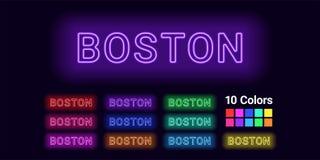 Neonnaam van de stad van Boston royalty-vrije illustratie