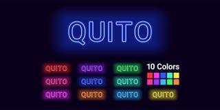 Neonnaam van Quitostad stock illustratie