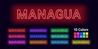 Neonname von Managua-Stadt lizenzfreie abbildung