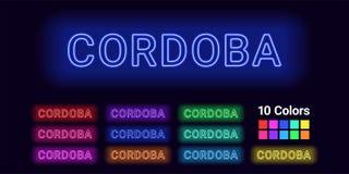 Neonnamn av den Cordoba staden royaltyfri illustrationer