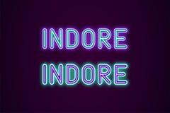 Neonnamn av den Indore staden i Indien Stock Illustrationer
