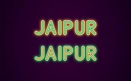 Neonnamn av den Jaipur staden i Indien Royaltyfri Illustrationer