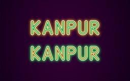 Neonnamn av den Kanpur staden i Indien Royaltyfri Illustrationer