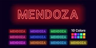 Neonnamn av den Mendoza staden stock illustrationer