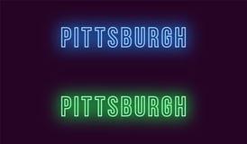 Neonnamn av den Pittsburgh staden i USA Vektortext royaltyfri illustrationer