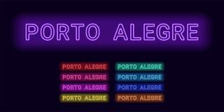 Neonnamn av den Porto Alegre staden vektor illustrationer