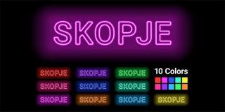 Neonnamn av den Skopje staden stock illustrationer