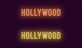 Neonnamn av det Hollywood området i Los Angeles vektor illustrationer