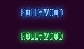 Neonnamn av det Hollywood området i Los Angeles royaltyfri illustrationer