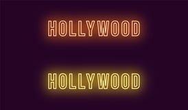 Neonnamn av det Hollywood området i Los Angeles stock illustrationer