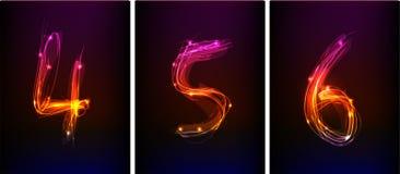 Neonnummer royaltyfri illustrationer