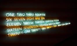 Neonnummer i textform Fotografering för Bildbyråer