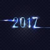 neonnummer 2017 på rutig genomskinlig bakgrund Vektor il Royaltyfri Illustrationer