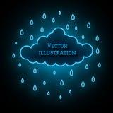 Neonowa chmura i raindrops na ciemnym tle Elegancka rozjarzona ilustracja Magia barwiony wektor royalty ilustracja
