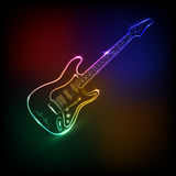 Neonowa gitara elektryczna Zdjęcia Royalty Free