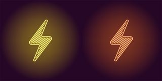 Neonowa ikona Żółta i Pomarańczowa Elektryczna energia royalty ilustracja