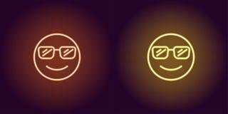 Neonowa ilustracja chłodno emoji przygotowywa ikonę fotografia royalty free