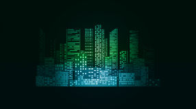 Neonowa ilustracja z miasto drapaczami chmur i budynkami royalty ilustracja