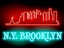 Neonowa sylwetka Nowy Jork Stany Zjednoczone miasta linii horyzontu wektoru tło Neonowy stylu znak N Y brooklyn Ilustracja dla t  Fotografia Royalty Free