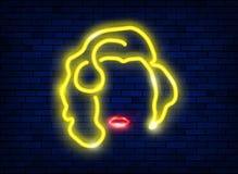 Neonowa sylwetka piękna seksowna blondynki dziewczyna z czerwonymi wargami Zaświecający znak diwy kobieta z minimalistycznym styl royalty ilustracja