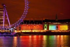 Neonowa tęcza nad Thames Fotografia Stock