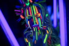 Neonowa twarzy sztuka Obrazy Royalty Free