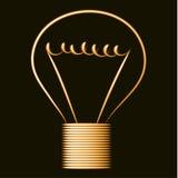 Neonowa złota żarówka, czarny tło Obraz Stock