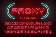 Neonowego światła abecadło, futurystyczna ekstra rozjarzona chrzcielnica Obraz Royalty Free