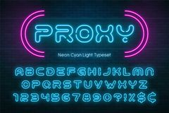 Neonowego światła abecadło, futurystyczna ekstra rozjarzona chrzcielnica Fotografia Royalty Free