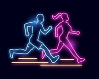 Neonowego światła bieg znaka ludzie Zdjęcia Stock