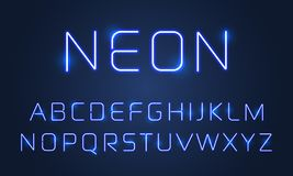 Neonowego światła chrzcielnicy abecadła listy ustawiający Wektorowy błękitny pozafioletowy neonowy abecadło chrzcielnicy lamp sku ilustracja wektor