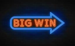 Neonowego światła liniowy promocyjny sztandar, najwyższa wygrana, gra, duża wygrana Fotografia Royalty Free