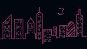 Neonowego światła miasto przy nocą fotografia royalty free