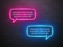 Neonowego światła mowy bąbla promocyjny sztandar, metka, rabat Obraz Royalty Free