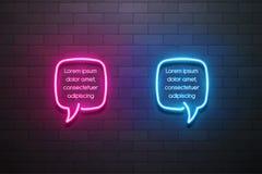 Neonowego światła mowy bąbla promocyjny sztandar, metka, rabat Obrazy Royalty Free