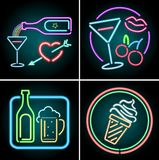 Neonowego światła projekt dla jedzenia i napoju ilustracji