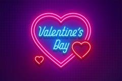 Neonowego światła walentynki ` s dzień kocham ciebie karcianego Fotografia Stock