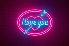 Neonowego światła walentynki ` s dzień kocham ciebie karcianego Zdjęcia Stock