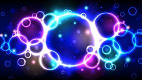 Neonowego koloru jaskrawi bąble, abstrakcjonistyczny multicolor tło z okręgami, błyskają, bokeh royalty ilustracja