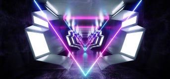 Neonowego trójboka Puirple Sci Fi statku kosmicznego Futurystycznego Rozjarzonego Białego Błękitnego metalu korytarza tunelu Odbi royalty ilustracja