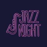 Neonowego wpisowego ` nocy Jazzowy ` royalty ilustracja