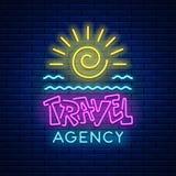 Neonowego znaka agencja podróży Obraz Stock